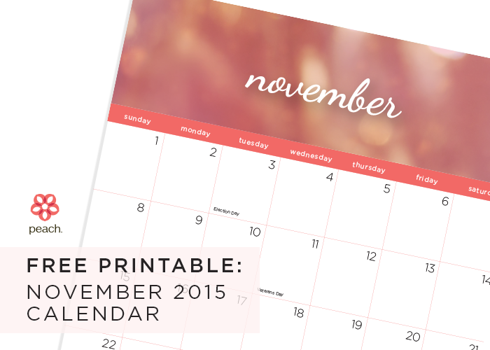 free printable November 2015 calendar from peach