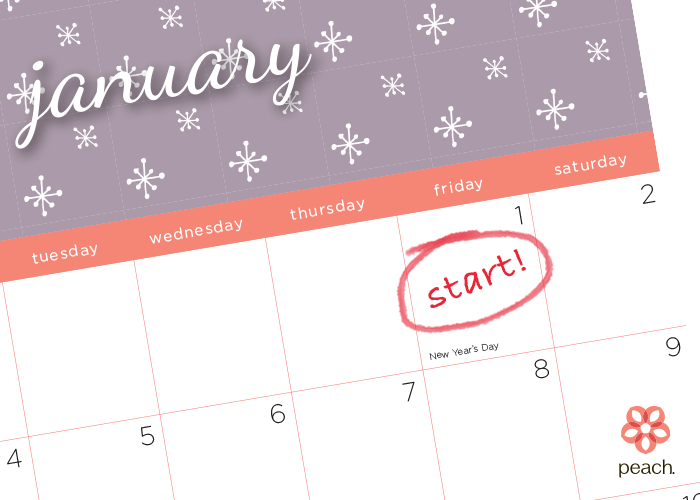 free printable calendar January 2016 - with love, peach
