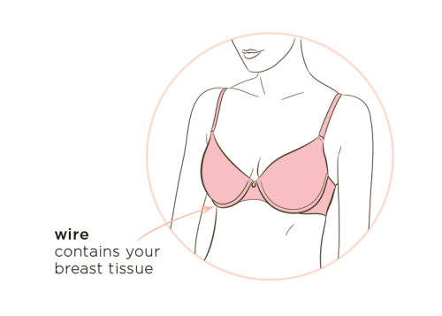 Bra fit tip #3: wire contains breast tissue