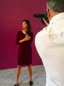 Our photographer shoots the Sylvie dress from the fall collection