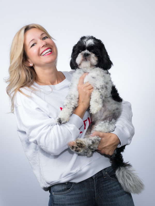 Oliver Thomas founder, Sue Fuller, with her dog and co-founder: the real-life Oliver Thomas.